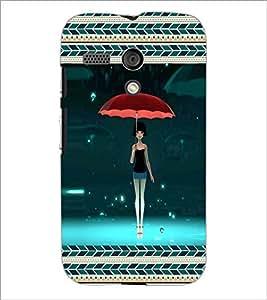 PrintDhaba Umbrella Girl D-3165 Back Case Cover for MOTOROLA MOTO G (Multi-Coloured)