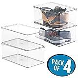 mDesign Aufbewahrungsboxen für Schuhe - 4er-Set - Schuhaufbewahrung mit Deckel - Schukasten stapelbar - Schuhkarton aus transparentem Kunststoff - 46,99 x 81,91 x 32,38 cm