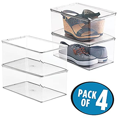 mDesign Storage Box Stackable - Shoe Storage With Lid -