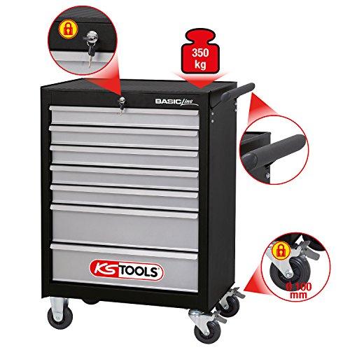 KS Tools Basicline Werkstattwagen mit 7 Schubladen, schwarz / silber, 838.0007 - 2
