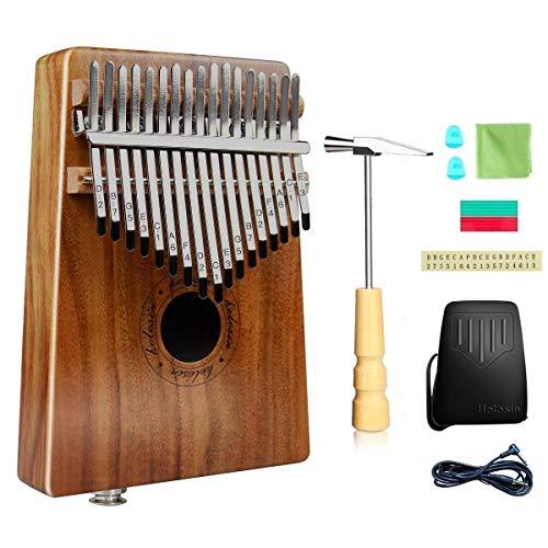 Kalimba 17 Schlüssel, Daumenklavier Kalimba Thumb Piano Finger Solide Kalimba Instrument Integriertem Tonabnehmer mit Audio-Schnittstelle mit Wasserdichte Schutzbox (KOA)