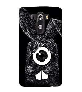 Fuson Designer Back Case Cover for LG G3 :: LG G3 Dual LTE :: LG G3 D855 D850 D851 D852 (Black rabbit One Eyed rabbit funny Rabbit Animated Rabbit Smiling rabbit)