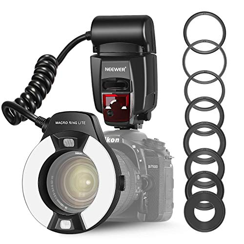 Neewer TTL Flash Macro Ring Light con Luce di Assistenza AF per Nikon D7000 D5000 D5100 D3200D3100 D3000 D3 serieD800D700 D2 serie D300 serie D200