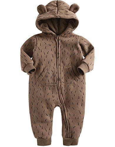 Vaenait Baby 56-80 Winter Schafwolle Mutze Overall Oberekleidung Safari Romper-Bear S