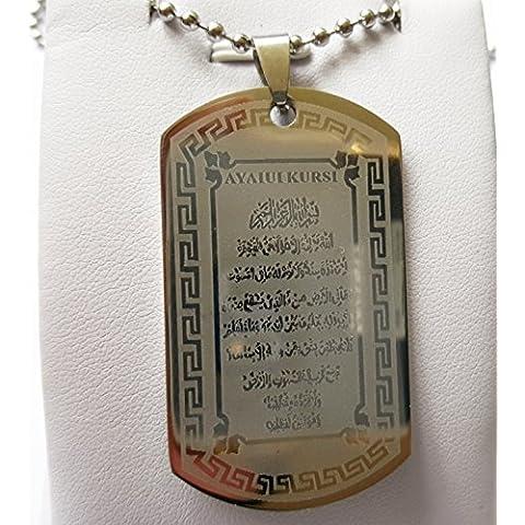 Protezione al rettangolare AYAT KURSI ALLAH MUSLIM Holy Quran Verses Sura arabo in acciaio inossidabile con pendente a forma di moneta regalo di auguri