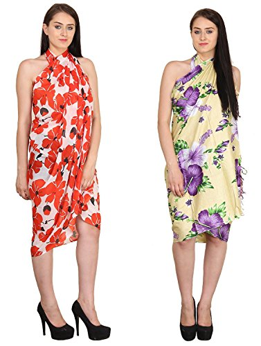 Sarong or Pareo or Swim Cover Ups Multipurpose Colorful Beachwear Set of Two ...