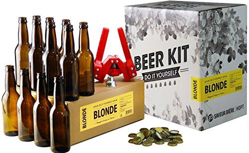 HOPT - Pack completo de elaboración 4L + recarga - Todo para preparar y probar su propia cerveza rubia - Un regalo perfecto para vivir una experiencia aún mejor