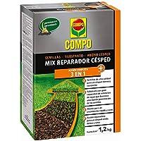 Compo Mix reparador 3 en 1, Semillas, substrato y abono, Activación del césped a Larga duración, 1,2 kg, 6 m², 26x18.4x6.4 cm