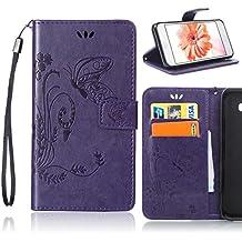 Sony Xperia M2 Aqua (D2403 D2406) Funda de PU cuero resistente Patrón de flores, Ultra Slim PU Cuero Folding Stand Flip Funda Carcasa Caso, Fubaoda Funda para Sony Xperia M2 Aqua (D2403 D2406), Púrpura
