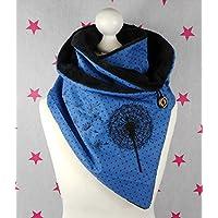 pinkeSterne ☆ Warmer Schal Knopfschal Pusteblume Blau Dunkelblau Stickerei Punkte Dots Damenschal Schalkragen Wickelschal / CT-GPM4-CM1F