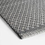 Teppich Läufer RHOMBE GREY aus Baumwolle 70x 130 cm grau mit weißen Rhomben