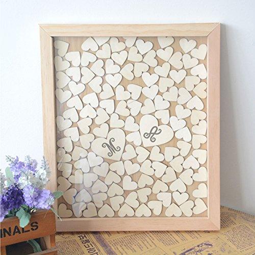 Registro degli ospiti per matrimonio, con iniziali, lettera, con telaio in legno con 120 cuori in legno