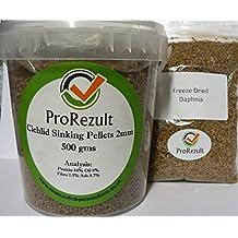 500 g Prorezult 2 mm Cichlid Pellets + Daphnia congelado seco. 500 g de pellets