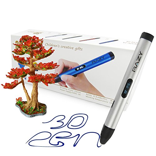 Professionelle 3D Druck Stift mit OLED-Display für Kunst, Modellierung, Druck- und Handwerk, mit Pla/ABS-Fasern + 3 gratis 1,75 mm Filament Nachfüllungen kompatibel, ideal als Geschenk für Kinder und Erwachsene (Silber)