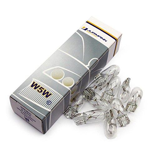 Jurmann Trade GmbH® 10x Stück 12V 5W W5W T10 Glassockel Halogen Lampen Autolampen NEU (Test Can Box)
