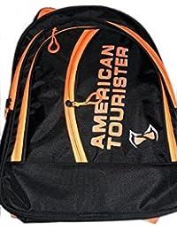 Adyyan Bags For Children In Trendy Black And Orange School Bag (One Piece)