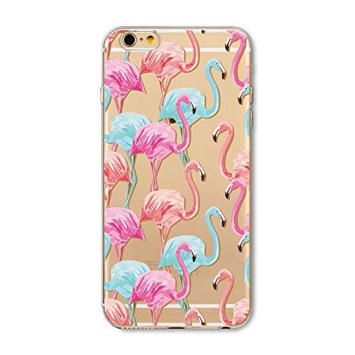 Coque iPhone 6 6s Housse étui-Case Transparent Liquid Crystal en TPU Silicone Clair,Protection Ultra Mince Premium,Coque Prime pour iPhone 6 6s-Flamingo-style 16 6