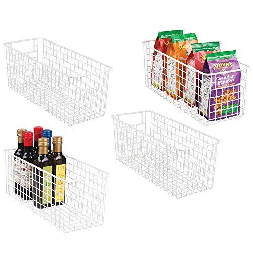 mDesign 4er-Set Allzweckkorb - tiefer Aufbewahrungskorb aus Metalldraht - kompakter Drahtkorb mit Griffen - universelle Gitterbox für Küche, Bad und andere Räume - mattweiß