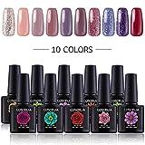 Coscelia 10ml UV Gel Farbgel Set 10 Farben UV Nagellack Nagelgele Gel Lack Set