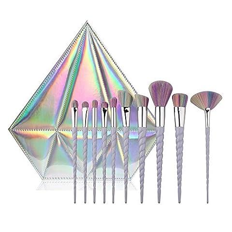 CDC® 10pcs Spiral Unicorn Handle Shape Rainbow Synthetic Make-up Brush Set Professional Foundation Eyeshadow Blusher Brush Kit, with Diamond