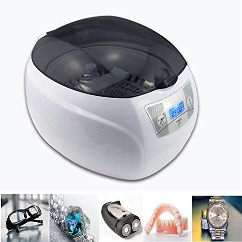 Preup Ultraschallreinigungsgerät 750ML Digital Ultraschallgerät Kleine Ultraschall-Reinigungsmaschine reinigen Zahnersatz Uhrhalskette Ring Brille CD DVDIntelligenter CNC