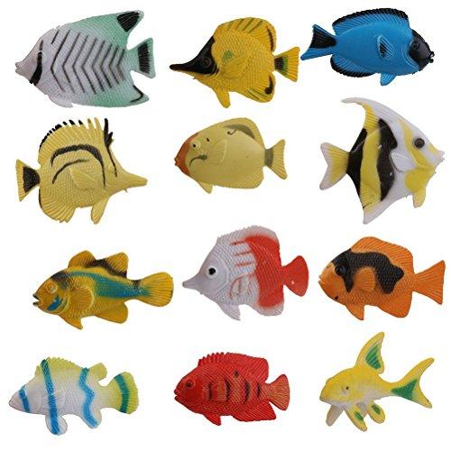 NUOLUX Ozean Tier tropischer Fisch Figur Modell Vorschul-Kinder Spielzeug-Pack 12