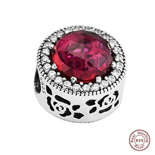 MOCCI 2017 Frühling Europäische DIY passt für Original Pandora Armbänder Authentische 925 Sterling Silber Red Crystal Rose Belle's strahlende Perle Schmuck Crystal Belle