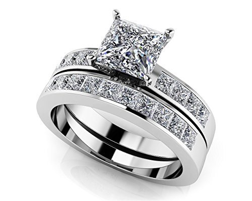 Or blanc 14K sertis de diamants taille princesse de mariage Ensemble