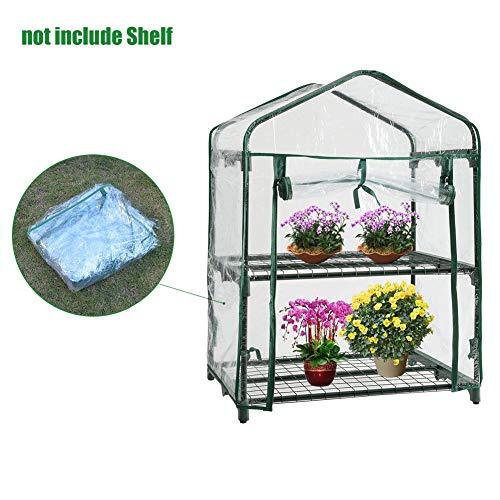 SeaStart Mini-Gewächshaus aus Kunststoff Ersatz für den Außenbereich, aus PVC mit 2 Etagen für Haus, Pflanze, Garten, Mini Schutzhülle (ohne Eisenrahmen) (Ersatz-kunststoff-gewächshaus)