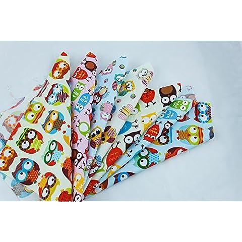 7 de dibujos animados Fat Quarters búho de dibujos animados Styple diverso diseño Tamaño 25x25cm color diferente algodón tela que acolcha los paquetes con agujas de coser