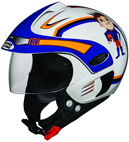 Studds Marshall D1 Open Face Helmet (Boy's, White N1, XS)