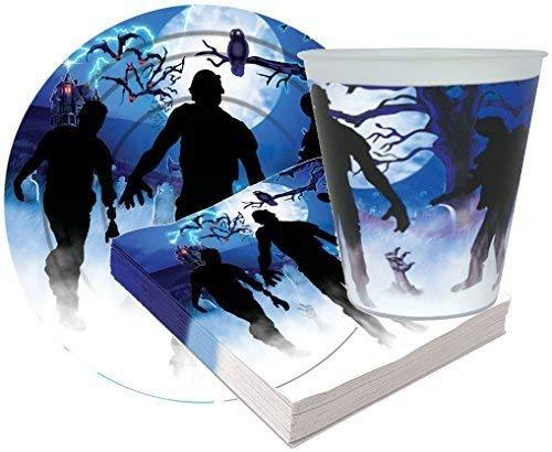Fancy Me 32 Stück Halloween-Party Papier Tisch Tragen Teller Becher Servietten Zombie Horror Gruselig Zubehör Prop Dekorationen