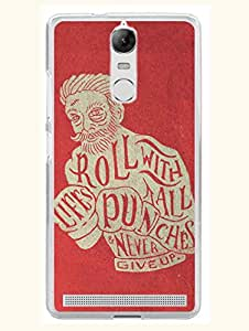 Lenovo K5 Note Back Cover - Never Give Up With Life - Motivational Quote - Designer Printed Hard Case with Transparent Sides
