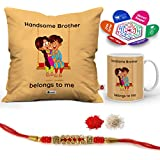 """Indigifts Rakhi Gifts For Brother Handsome Bro Belongs To Me Quote Printed Gift Set Of Cus 12""""x12"""" With Filler, Mug 330 Ml, Crystal Rakhi For Brother, Tika, Chawal & Greeting Card - Rakshabandhan Gifts For Brother, Rakhi For Brother With Gif"""