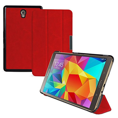 eFabrik Tasche für Samsung Galaxy Tab S 8.4 (T700, T701, T705) 21,34 cm (8,4 Zoll) Tablet Zubehör Auto Sleep/Wake Up Funktion Ultra Slim Cover Kunstleder Rot
