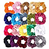 #3: 20 Pack Hair Scrunchies Velvet Elastics Hair Ties Scrunchy Bands Ties Ropes Scrunchie for Women or Girls Hair Accessories, 20 Pcs Bright Colorful (Come with a Free Gift Pouch)