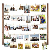 Vencipo DIY Wood Picture Frames Collage for Hanging Wall Decor, Multi Photo Display Pictures Organizer with 30 Clips, 28