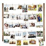 Vencipo Cornice Portafoto Collage per Appendere Foto Wall Decor, Cornici Foto in Legno Multipla con 30 Foto Clips.
