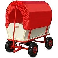 Deuba Bollerwagen mit Plane - 4 luftgefederte Profilräder - 180 kg belastbar Transportwagen Handwagen Wagen Transport Schutzdach