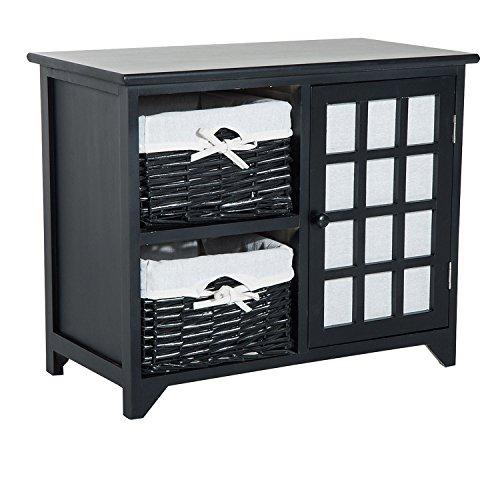 Homcom Holz-Kommode, für Schlafzimmer, Shabby-Chic-Stil, mit Weidenkörben, kleiner Beistelltisch, schwarz