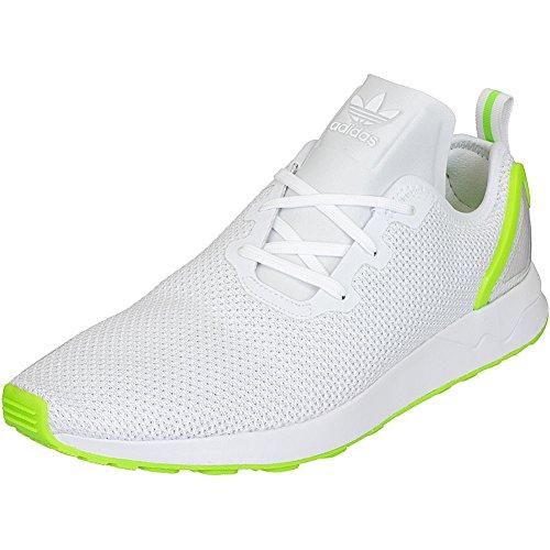 Adidas Originals ZX Flux Sneaker ADV asimmetrico formatori Trainer Bianco (White/Green)