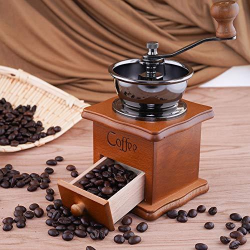 SOPRETY Manuelle Kaffeemühle im Vintage-Stil aus Holz, Handkaffeemühle aus klassischer Keramik-Fräsmühle im Antik-Holz-Kaffeemühle, verstellbar, konische Keramik-Frässtifte (Antike Manuelle Kaffeemühle)