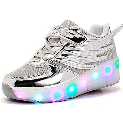 ZXSFC Kinder Schuhe mit Rollen Mesh Skateboardschuhe LED Schuhe Rollschuhe Outdoor Fitnessschuhe Gymnastik Sneaker Turnschuhe Sportschuhe Laufschuhe für Junge Mädchen Silber 32