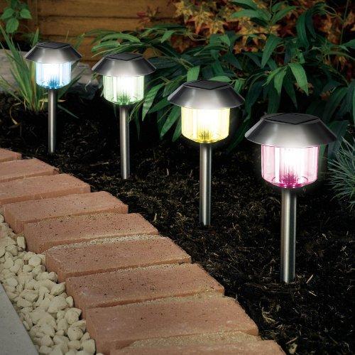 Lot de 10 x à changement de couleur Lampes solaires Inox De Jardin