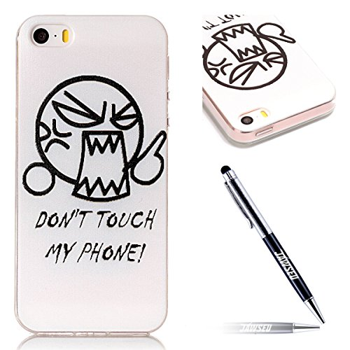 iPhone SE Custodia, iPhone 5S/5 Cover in Silicone TPU Transparente, JAWSEU Creativo Disegno Super Sottile Cristallo Chiaro Custodia per Apple iPhone 5/5S Corpeture Case Antiurto Anti-scratch Shock-Abs DON'T TOUCH MY PHONE'