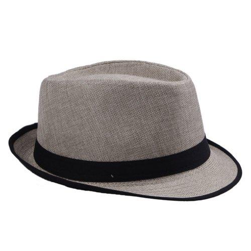 Y-BOA Chapeau Panama Unisexe Lin avec Bord Eté Voyage/Plage Style Fedora Trilby Femme/ Homme Casual Multicolore Noir