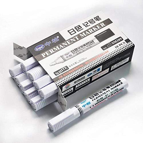 Motto.h Lavagna in Gomma in Metallo Durevole, Impermeabile, Universale di marcatori di Colore per Pneumatici di Auto, White*10