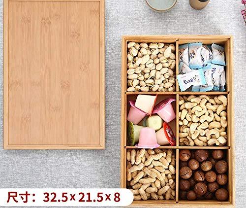 ZZSIccc Europäische Trockenfrüchte Platte Fach mit Deckel Dörrobst Box Wohnzimmer Obstschale Melone Samen Snacks Nuss Box Pralinenschachtel Bambus Holz, C