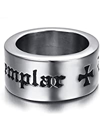 K Mega Jewelry Mens Stainless Steel Ring, Biker, Silver, Knights & Templar, KR2100