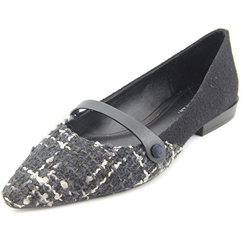 Elie Tahari Chelsea Toile Chaussure Plate Black-Black-Navy